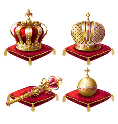 royal crowns scepter and orb realistic set vector image vector image