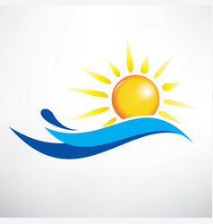 Sun and water wave symbol vector