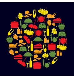 thanksgiving color icons set in circle eps10 vector image vector image