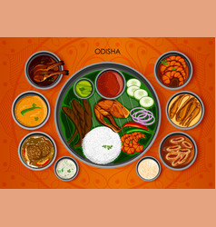 traditional cuisine and food meal thali of odisha vector image vector image