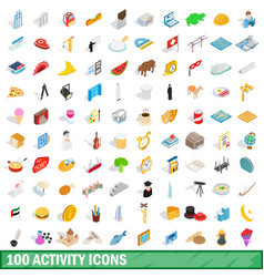 100 activity icons set isometric 3d style vector
