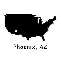 1277 phoenix az on usa map vector
