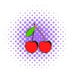 A couple of red cherries icon comics style vector image