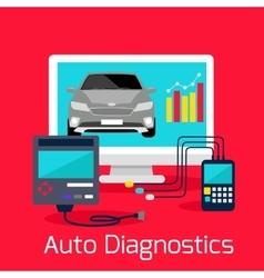 Auto Diagnostics Monitor Flat Concept vector