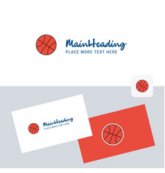 basket ball logotype with business card template vector image