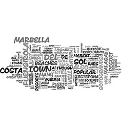 Beach front resorts of the costa del sol text vector
