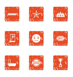 Best reality icons set grunge style vector