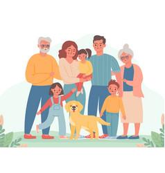 big family happy parents children grandma and vector image