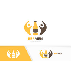 Bottle and people logo combination beer vector