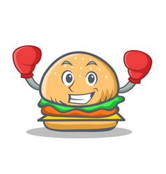 boxing burger character fast food vector image