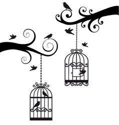 branches with birdcages vector image vector image