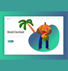 brazil carnival drum player character landing page vector image