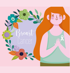 breast cancer awareness month young woman wreath vector image