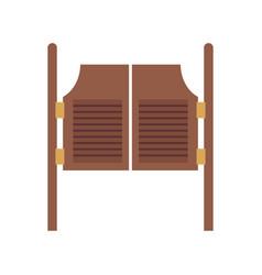 Brown wooden saloon door isolated on white vector