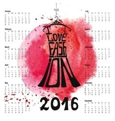 Calendar 2016 silhouette vector