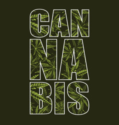 Cannabis typography with pattern vector
