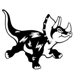 cartoon triceratops black white vector image