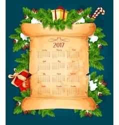 Christmas calendar on scroll with pine tree gift vector