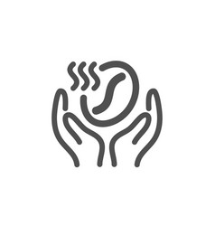 Coffee icon hold roasted bean sign love caffeine vector