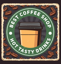 coffee poster cafe retro design coffee beans cup vector image