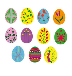 collection of painted easter eggs vector image