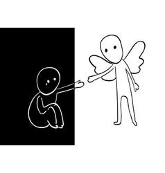 conceptual idea of opposites through prism of vector image