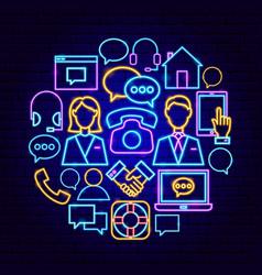 Contact us neon concept vector
