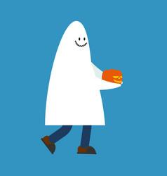 Costume ghost and pumpkin halloween spook vector