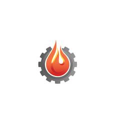 creative gear fire logo vector image