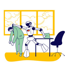 Cyborg kicked human character away from job robot vector