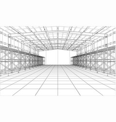 Drawing or sketch warehouse with shelves vector