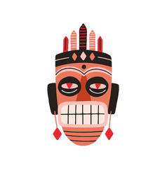ethnic african tribal mask showing teeth and vector image