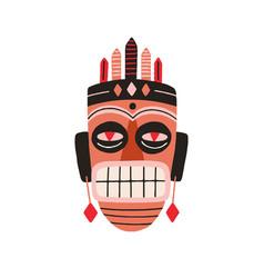 Ethnic african tribal mask showing teeth vector