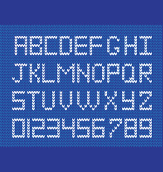 fabric script on blue knitted background vector image
