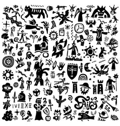 fairy tale history - doodles silhouettes sign vector image