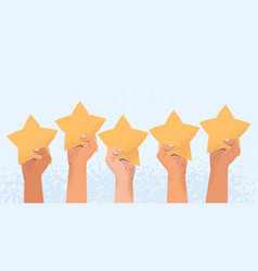 five raised arms holding five stars costumer vector image