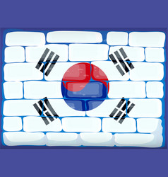 flag of south korea painted on brickwall vector image