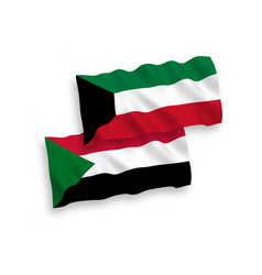 Flags sudan and kuwait on a white background vector