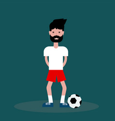 flat guy boy footballer on green background vector image