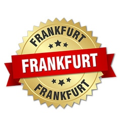 Frankfurt round golden badge with red ribbon vector