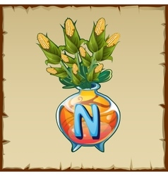 Glass vase with bouquet corn and letter n vector