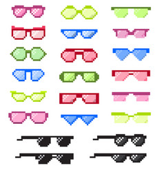 glasses pixel with eyes cartoon eyeglass vector image