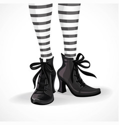 halloween closeup witch legs in striped stockings vector image