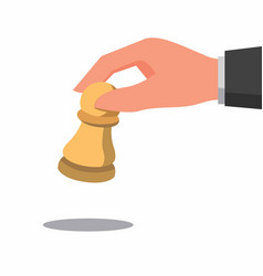 Hand holding chess piece wooden chess pawn vector