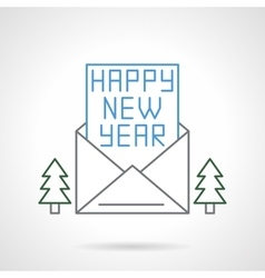 Happy New Year flat line icon vector image