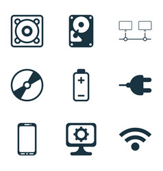 hardware icons set with mobile phone computer vector image