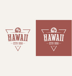 hawaii state textured vintage t-shirt and vector image
