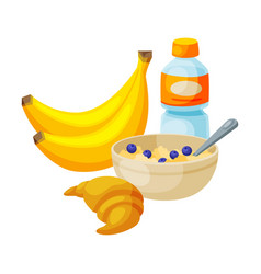 healthy breakfast bananas plastic bottle of vector image