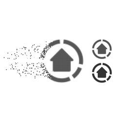 House diagram shredded pixel halftone icon vector