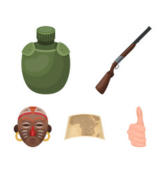 Hunting rifle flask in the case map african vector